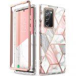 Supcase Cosmo Samsung Galaxy Note 20 hátlap, tok, márvány mintás, rózsaszín