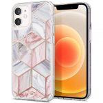 Spigen Cyrill Cecile Marble iPhone 12 Mini márvány mintás hátlap, tok, rózsaszín