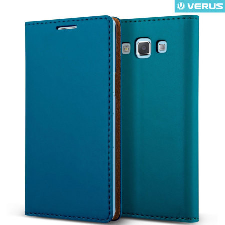 VRS Design (VERUS) Samsung Galaxy A7 (2015) Crayon Slim Standing Diary oldalra nyíló bőr tok, sötétkék