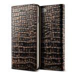 VRS Design (VERUS) iPhone 7 Genuine Croco Diary oldalra nyíló bőr tok, arany