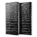 VRS Design (VERUS) iPhone 7 Genuine Croco Diary oldalra nyíló bőr tok, ezüst-fekete