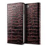 VRS Design (VERUS) iPhone 7 Genuine Croco Diary oldalra nyíló bőr tok, rózsaszín