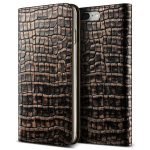 VRS Design (VERUS) iPhone 7 Plus Genuine Croco Diary oldalra nyíló bőr tok, arany