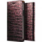 VRS Design (VERUS) iPhone X/Xs Genuine Croco Diary oldalra nyíló tok, flip tok, rózsaszín