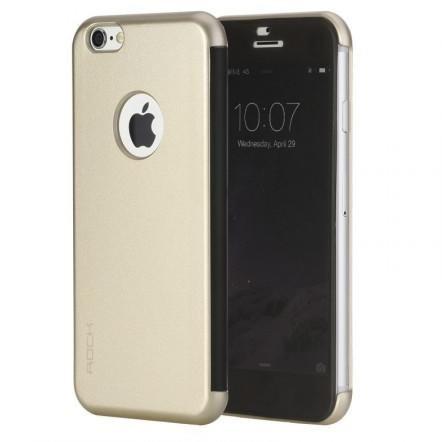 Rock iPhone 6 Plus/6S Plus DR.V Series without APP oldalra nyíló tok, flip tok, arany