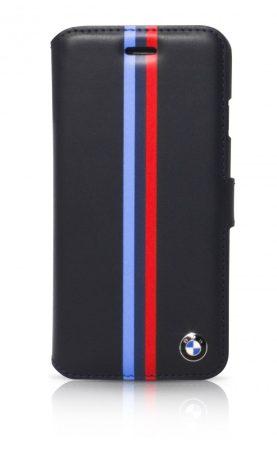 BMW iPhone 6 Plus/6S Plus Motorsport Raceway Split Tricolor Stripe oldalra nyíló tok, flip tok, sötétkék