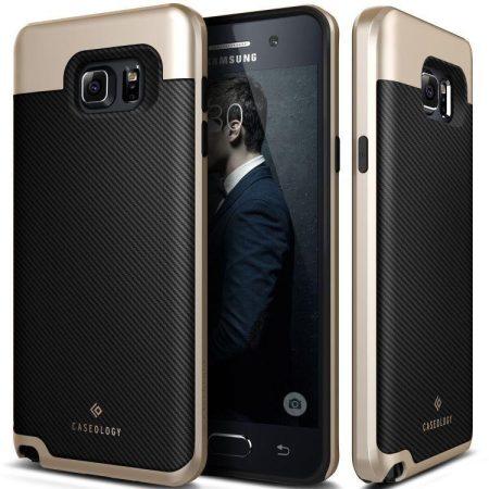 Caseology Samsung Galaxy Note 5 Envoy Series Carbon hátlap, tok, arany-fekete