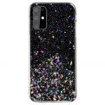 Sequins Glue Glitter Case Huawei P Smart (2020) hátlap, tok, fekete