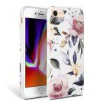 Tech-Protect Floral iPhone 7/8/SE (2020) hátlap, tok, mintás, fehér