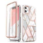 Supcase Cosmo Iphone 11 hátlap, tok, márvány mintás, rózsaszín