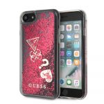 Guess iPhone 8 Liquid Glitter Hearts hátlap, tok, piros