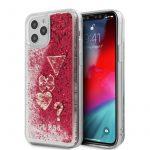 Guess iPhone 12 Pro Max Liquid Glitter Hearts hátlap, tok, piros