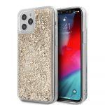 Guess iPhone 12/12 Pro 4G Liquid Glitter hátlap, tok, arany