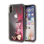 Guess iPhone X/XS Glitter Hearts hátlap, tok, piros