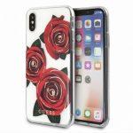 Guess iPhone X Flower Desire  Red Rose hátlap, tok, átlátszó-mintás