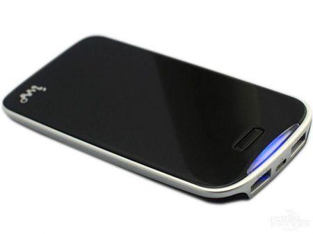 IWO P26 Li-Polimer Dual-USB Power Bank, hordozható külső akkumulátor, 5000 mAh, fekete