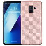 Carbon Fiber Samsung Galaxy A8 (2018) hátlap, tok, rózsaszín