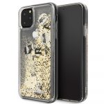 Karl Lagerfeld iPhone 11 Pro Max Floating Charms Liquid Glitter Iconic hátlap, tok, arany