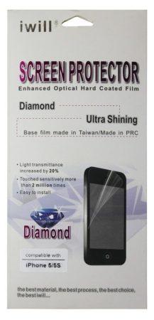 Iwill iPhone 5/5S/SE Diamond kijelzővédő fólia, átlátszó