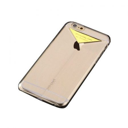 Apple iPhone 6 USAMS Dazzle műanyag hátlap, tok fém felirattal, arany