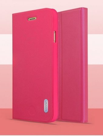 Apple iPhone 6/6S műanyag hátlap tok PU+PC Bumper, USAMS Geek, rózsaszín
