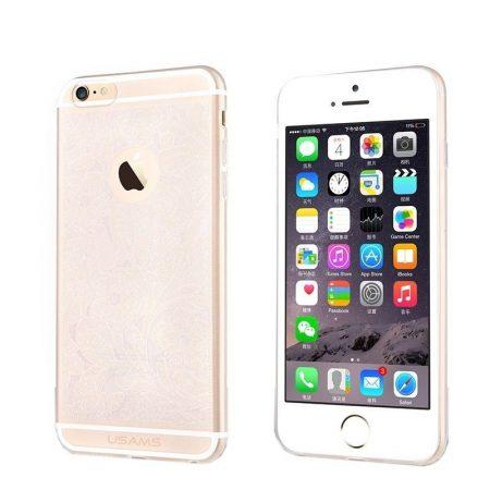 Apple iPhone 6 Plus TPU szilikon tok, virágmintás, USAMS Wisper, átlátszó