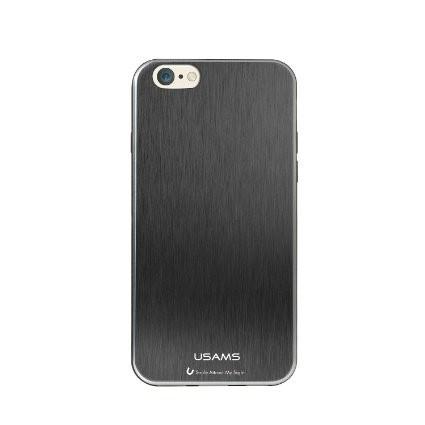 Apple iPhone 6 Plus, USAMS Metallica oldalt átlátszó, hátul fémes hatású TPU tok, fekete