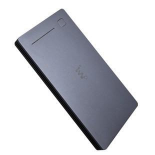 IWO P40B Li-Polimer Power Bank, hordozható külső akkumulátor, aluminium házban, Dual-USB, 12000mAh, fekete