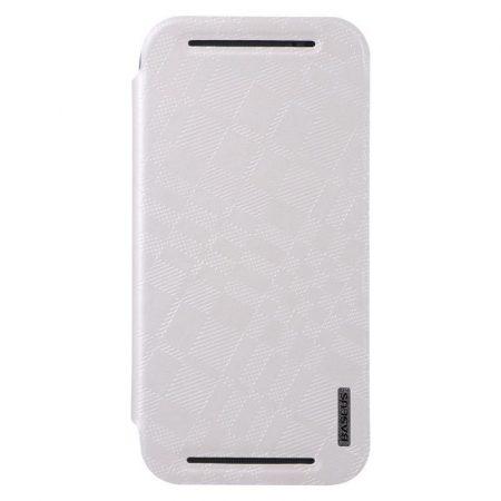 Baseus Brocade HTC M8 oldalra nyíló tok, flip tok, fehér