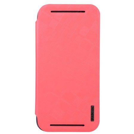 Baseus Brocade HTC M8 oldalra nyíló tok, rózsaszín