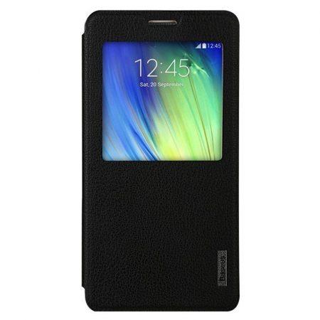 Baseus Primary Color Samsung Galaxy A7 oldalra nyíló tok, flip tok, fekete