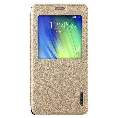 Baseus Primary Color Samsung Galaxy A7 oldalra nyíló tok, flip tok, arany