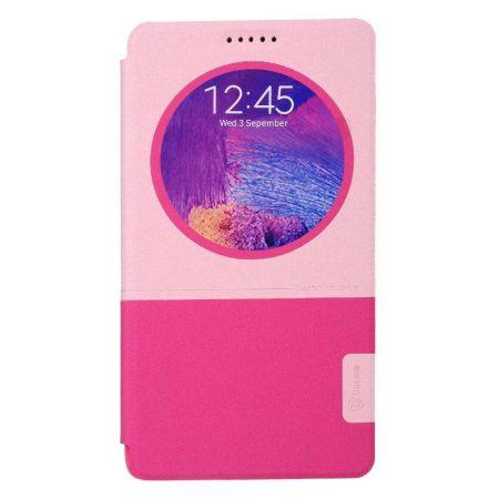 Baseus Unique Leather Samsung Galaxy Note 4 oldalra nyíló bőr tok, rózsaszín