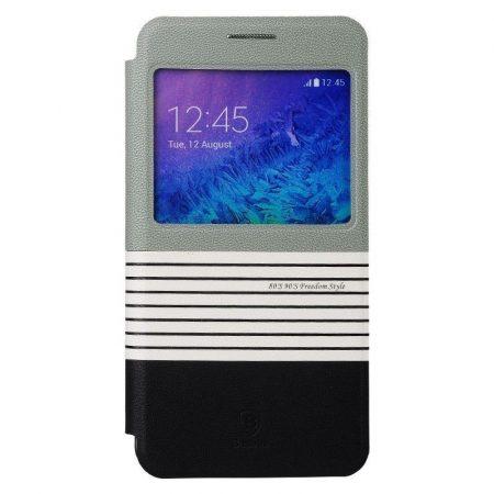 Baseus Eden Samsung Galaxy Alpha oldalra nyíló bőr tok, fekete-szürke