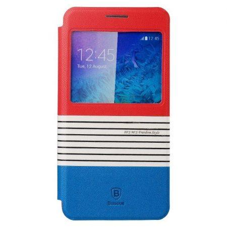 Baseus Eden Samsung Galaxy Alpha oldalra nyíló bőr tok, piros-kék