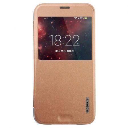 Baseus Primary Color Samsung Galaxy S5 oldalra nyíló tok, flip tok, rozé arany
