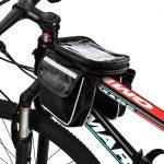 """Univerzális biciklis táska telefon tartóval: 6""""-ig, fekete"""