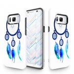 Zizo Sleek Hybrid Design Samsung Galaxy S8 hátlap, tok, kék toll mintás, fehér-kék