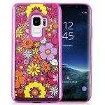 Zizo Liquid Glitter Star Case Samsung Galaxy S9, virágmintás, rózsaszín