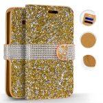 Zizo Diamond Bling Samsung Galaxy S9 oldalra nyíló tok, kártyatartóval, arany