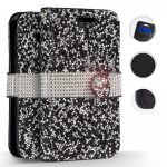 Zizo Diamond Bling Samsung Galaxy S9 oldalra nyíló tok, kártyatartóval, fekete