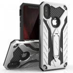 Zizo Static Hybrid iPhone Xs Max ütésálló hátlap, tok, kitámasztóval, ezüst-fekete