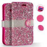 Zizo Full Diamond iPhone Xs Max oldalra nyíló tok, kártyatartóval, rózsaszín