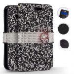 Zizo Full Diamond iPhone Xr oldalra nyíló tok, kártyatartóval, fekete