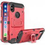 Zizo Tough Armor Style 2 iPhone X/Xs ütésálló hátlap, tok kitámasztóval, piros-fekete
