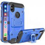 Zizo Tough Armor Style 2 iPhone X/Xs ütésálló hátlap, tok kitámasztóval, kék-fekete
