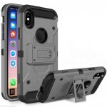 Zizo Tough Armor Style 2 iPhone X/Xs ütésálló hátlap, tok kitámasztóval, szürke-fekete