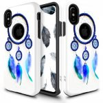 Zizo Sleek Hybrid Design iPhone X/Xs hátlap, tok, kék toll mintás