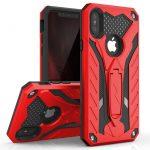 Zizo Static Hybrid iPhone X/Xs ütésálló hátlap, tok, kitámasztóval, piros-fekete
