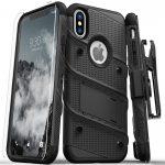 Zizo Bolt Cover iPhone X/Xs ütésálló hátlap, tok és edzett üvegfólia, fekete
